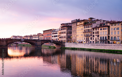 river Arno at sunset Florence, Italy Canvas Print