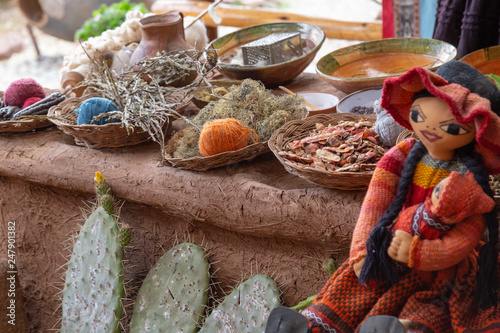 Photo  Ingredients for dyeing fabrics, Colorful Peruvian Harvest Table - Corn and Herbs