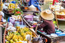 Traditional Floating Market Of Damnoen Saduak With Food And Drink Goods Tourist Attraction