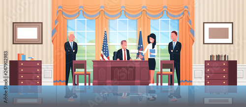 Obraz na plátně United States president sitting workplace signing law act document with female s