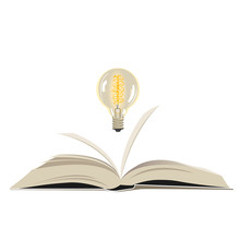 Open Book With A Light Bulb. V...