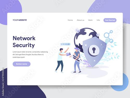 Fotografía  Landing page template of Network Security Illustration Concept