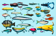 Fishing Lures On A Blue Backgr...