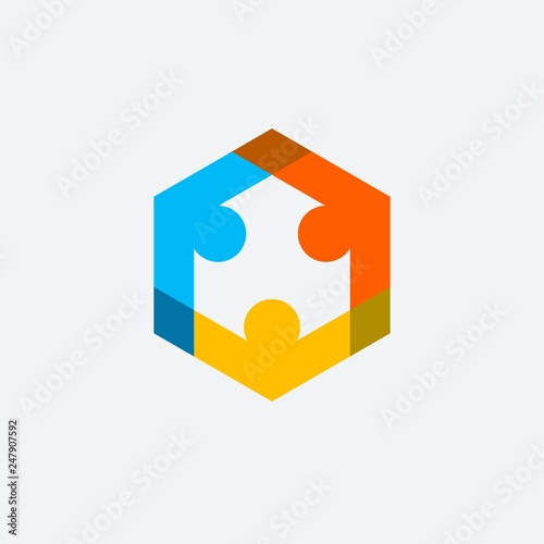 Human Figure Team Work vector logo Canvas-taulu