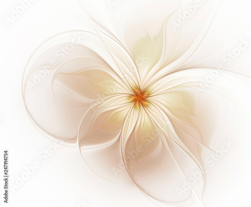 Plakaty beżowe  abstract-fractal-light-beige-flower