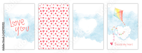 Valentines day watercolor card collection, greeting templates with kite, hearts and clouds. Hand drawn illustration, aquarelle postcard set with childish design
