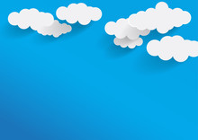 Cloud. Abstract White Cloudy In Trendy Flat Style Isolated On Blue Background. Blank Text Space For Web Site Banner, Presentation, Template, Design.