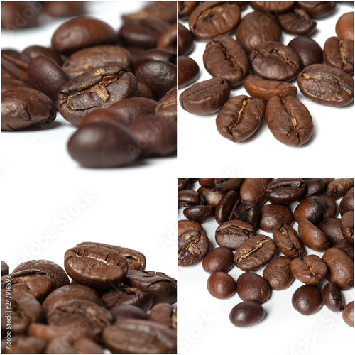 Coffee beans themed collage isolated on white background