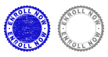 Grunge ENROLL NOW Stamp Seals Isolated On A White Background. Rosette Seals With Grunge Texture In Blue And Gray Colors. Vector Rubber Stamp Imprint Of ENROLL NOW Tag Inside Round Rosette.