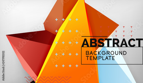 Photo Stands Abstract color triangles geometric background. Mosaic triangular low poly style