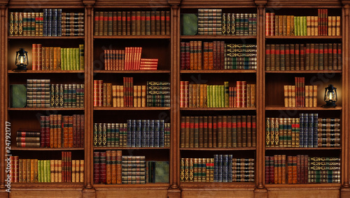 Photo  Shelving with books. Library. Book collection