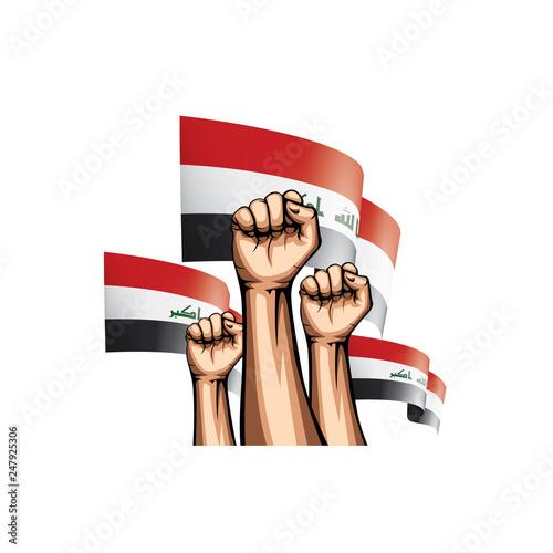 Iraqi flag and hand on white background. Vector illustration Fototapeta