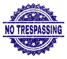 NO TRESPASSING Stamp Seal Watermark With Distress Style. Blue Vector Rubber Print Of NO TRESPASSING Title With Grunge Texture.