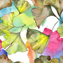 Ginkgo Biloba Green Leaf Plant Floral Foliage. Watercolor Background Illustration Set. Seamless Background Pattern.