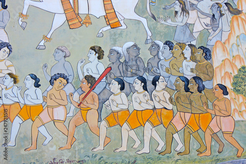 Fotografía Colorful indian mural in the fort at Jodhpur showing a royal procession, includi