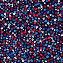 Seamless Pattern With White, Red And Blue Five Pointed Stars