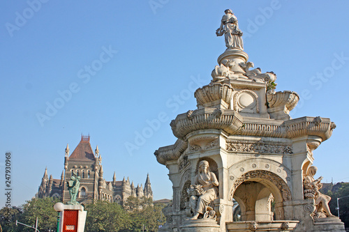 Fotobehang Flora Fountain and Oriental Building on famous piazza in Bombay ( Mumbai ),India, Asia