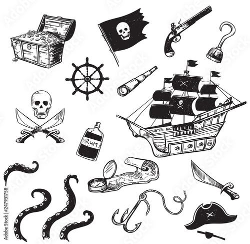 Pirate icons set, vector illustration Wallpaper Mural
