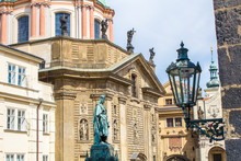 Monument To Charles IV In Prague. Statue Of Charles IV In Prague. Architecture Of Prague Old Town