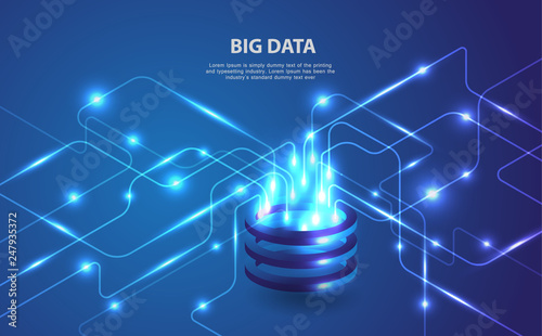 Fotografie, Obraz  Big data analytics of data from multiple directions futuristic abstract vector b