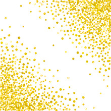Gold Glitter Dots Confetti On Isolated Backdrop. Shiny Falling Sequins With Shimmer And Sparkles. Design With Gold Glitter Dots For Party Invitation, Bridal Shower And Save The Date Invite.