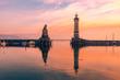 canvas print picture - Hafen Einfahrt Lindau Bodensee