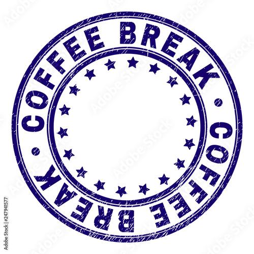 Photo  COFFEE BREAK stamp seal imprint with grunge texture