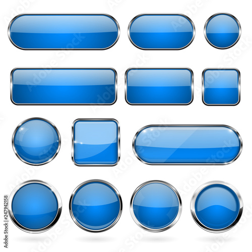Obraz Blue glass buttons with metal frame. Collection of 3d icons - fototapety do salonu