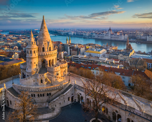 Budapest, Hungary - The main tower of the famous Fisherman's Bastion (Halaszbast Wallpaper Mural