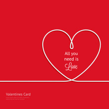 Valentines Card With Line Hear...