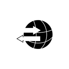 Export Import Icon. Illustration Of The Process Of Selling And Purchasing International Goods. With The Symbol Of Two Arrows That Are Opposite Each Other.