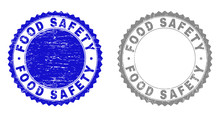 Grunge FOOD SAFETY Stamp Seals Isolated On A White Background. Rosette Seals With Grunge Texture In Blue And Gray Colors. Vector Rubber Stamp Imprint Of FOOD SAFETY Label Inside Round Rosette.
