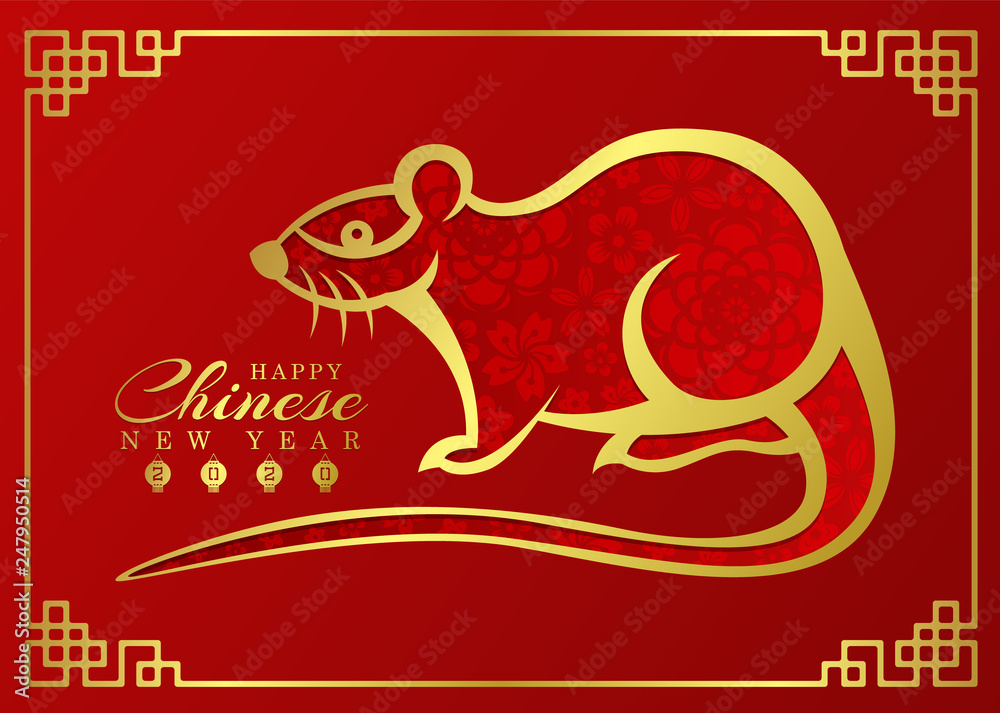Photo u0026 Art Print chinese new year 2020 card with abstract
