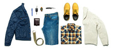 Flat Lay Set Men's Casual Clothing, Jacket Jeans Checkered Shirt Knitted Sweater Yellow Nubuck Shoes Strap Wrist Watch Wallet Car Keys Isolated Items On White Background Top View. Male Fashion