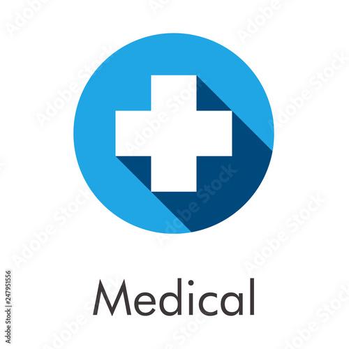 Logotipo abstracto con texto Medical con cruz blanca con sombra en circulo color Slika na platnu