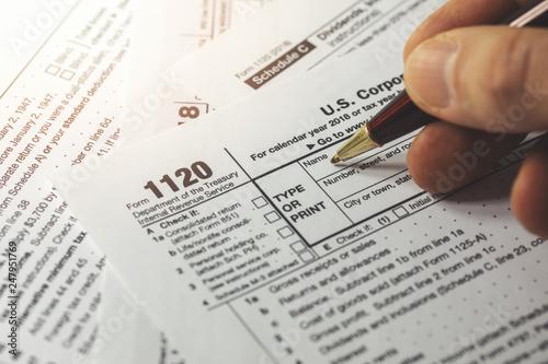 Photo  filing corporation income tax return form 1120