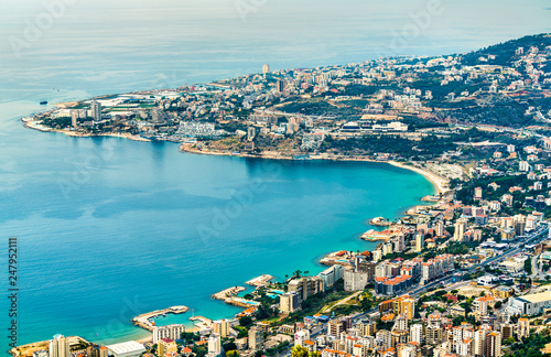 Tableau sur Toile Aerial view of Jounieh in Lebanon