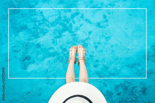 top view of Maldive clear water with white framer text inside - 247952909