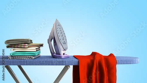 modern iron on the ironing board near the ironed things in the stack 3d render o Fotobehang