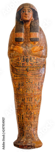 Fotografie, Obraz Egyptian sarcophagus isolated over a white background