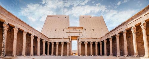 Spoed Fotobehang Bedehuis Interior view of a pylon of Edfu. The Temple of Edfu, Nubia, Egypt.