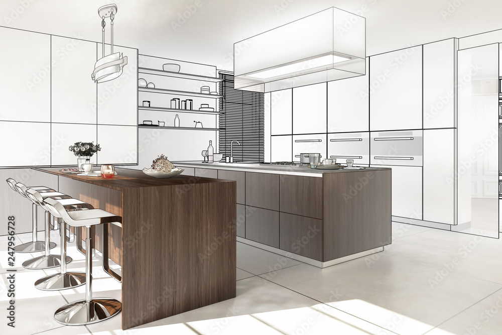 Fototapety, obrazy: Contemporary Designed Kitchen (preview) - 3D illustration