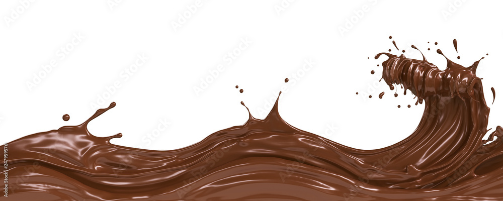 Fototapety, obrazy: wave of dark Chocolate or Cocoa splash, Abstract background, 3D illustration.