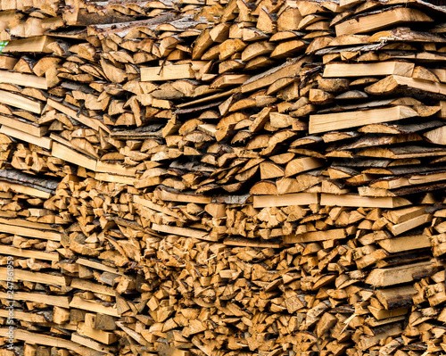 The texture of chopped firewood