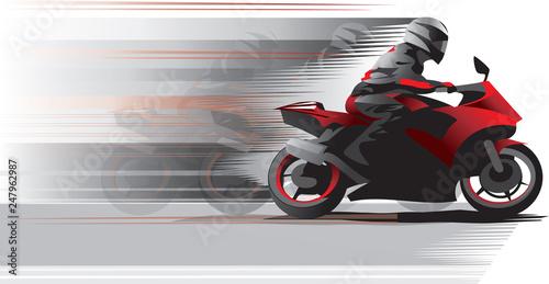 Obraz na plátně Motorcycle racer on the move, side view. Vector