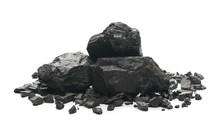 Black Coal Chunks Isolated On White Background