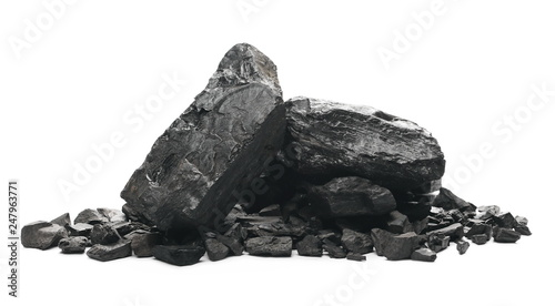 black coal chunks isolated on white background Fototapete