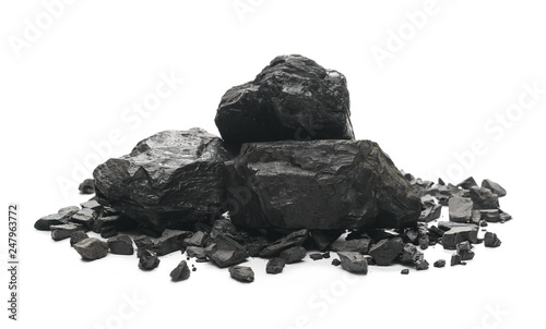 Valokuvatapetti black coal chunks isolated on white background