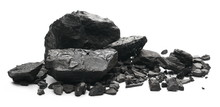 Black Coal Chunks Isolated On White Background