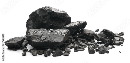 Fotografía black coal chunks isolated on white background